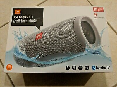 JBL Charge 3 Portable Bluetooth Speaker, Grey, NEW