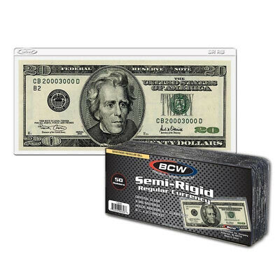 (100) Bcw Small Dollar Bill Semi Rigid Vinyl Currency Money Storage Holders