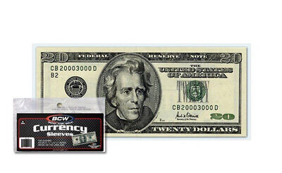 (600) Bcw Small Us Note Soft Poly Currency Dollar Bill Paper Money Sleeves