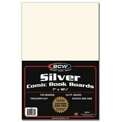 (200) Bcw Comic Book Resealable Thick Silver Bags & Acid Free Backing Boards