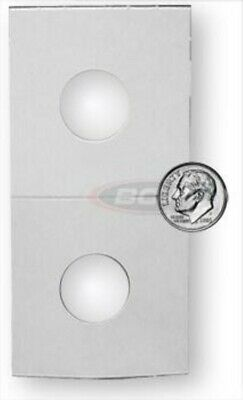 (100) Bcw Dime Size 2X2 Coin Flip White Square Cardboard Storage Holders