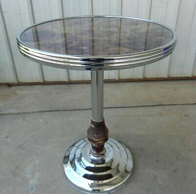 Side Table Art Deco Black and Gold, Chrome and Bakelite Wine Coffee Stand