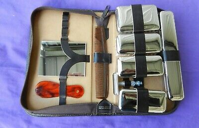 Men's Grooming Shaving Kit Travel Case Ground Leather Vintage Circa 1950's