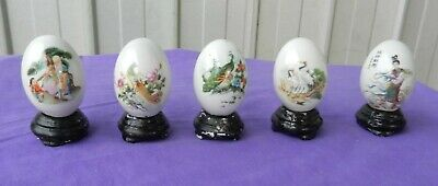 Ceramic Eggs with Ceramic Stand Chinese Hand Painted Egg Vintage