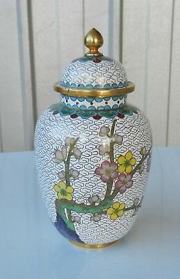 CHINESE CLOISONNE URN WITH LID VINTAGE (b)