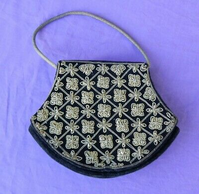 Black Velvet Evening Bag or Purse with Indian Silver Work Embroidery Vintage