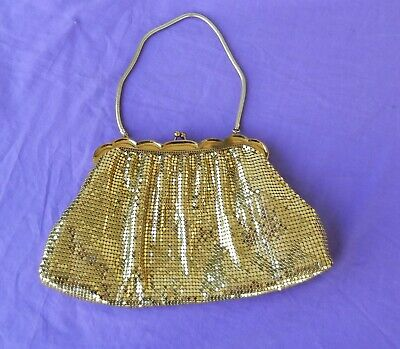 Vintage Gold Mesh Evening Handbag Purse Whiting Davis Beautiful