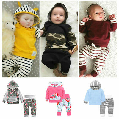 Newborn Baby Boys Girls soft cotton outerwear hoodie Tops+Pants Outfits set
