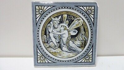 Antique Tile Shakespeare Minton Works Stoke On Trent Mid Summer Nights Dream