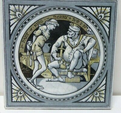 Antique Tile Shakespeare Minton Works Stoke On Trent 1St Part King Henry Iv