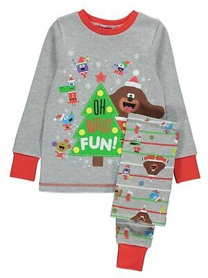 Hey Duggee Grey Slogan Christmas Childrens Pyjama Set Pjs Kids George Boys Girls