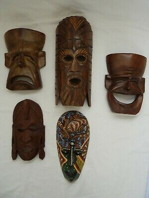 Wooden Hand Carved African Tribal Masks x 5