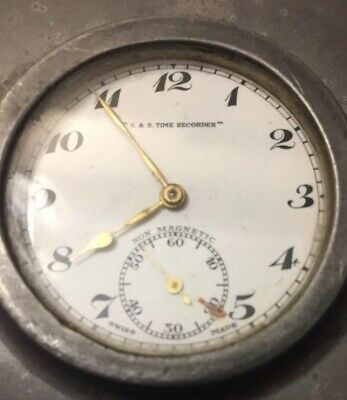 1940's VINTAGE NIGHT WATCHMAN's TELL TALE TIME PIECE. Service & Security