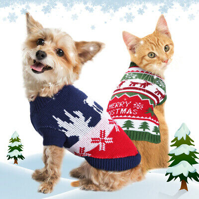 Christmas Knit Dog Sweater Small Chihuahua Clothes Pet Kitten Winter Warm Jumper