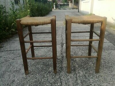 Stools Wooden & Straw First '900 Scanno Trestle Stool Chair Stool