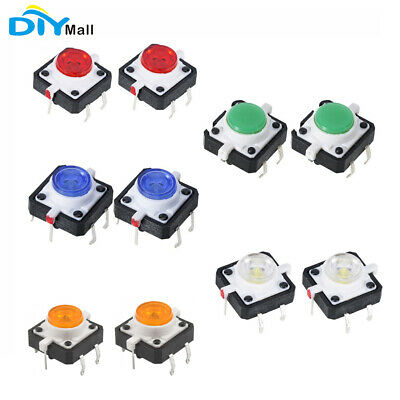 10PCS LED Tactile Button Push Switch Momentary Tact With LED 4pin Round Cap