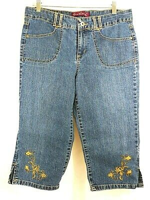 Gloria Vanderbilt Women's Blue Jean Capris 12P Floral Embroidered