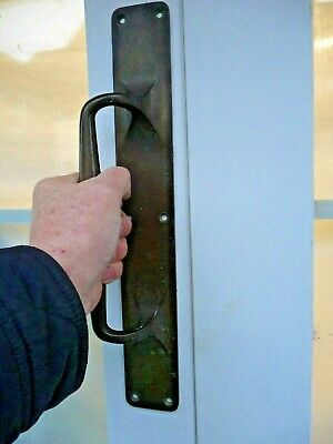 "Antique Single 1920s Large Bronze Door Handle Shop Pull Public Building 15 "" Old"