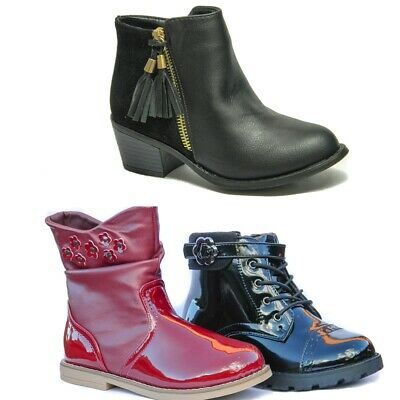 Girls Ankle Boots Kids Infant Shoes Size 7 8 12 | Black and Burgundy