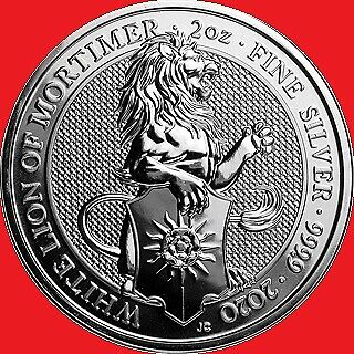 2020 2oz Silver Queen's Beasts The White Lion Bullion Coin in COIN CAPSULE