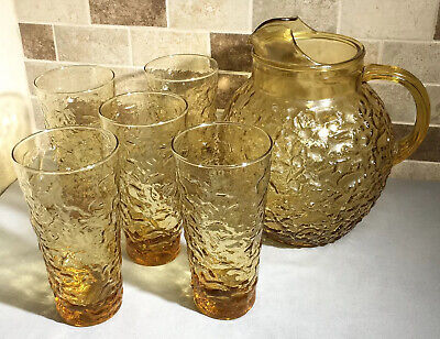 Vintage Anchor Hocking Milano Honey Gold Amber Glass Pitcher & Tumblers Glasses