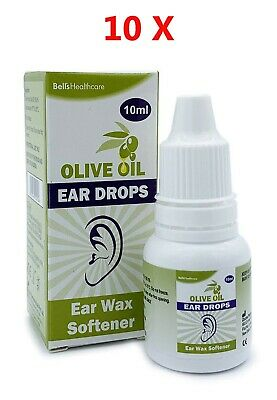 10 x Bell's Olive Oil Ear Wax Drops w. Dropper Softens and Removes 10ml Eardrops
