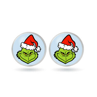 """THE GRINCH Who Stole Christmas Glass Domed Post Earrings 1/2"""""""