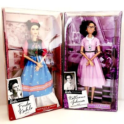 Barbie Inspiring Women Series Frida Kahlo & Katherine Johnson Dolls Toy NIB