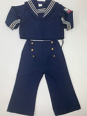 Vintage Baby Boys Sailor Outfit Navy Blue 2 Piece Suit 18 Months USA Made