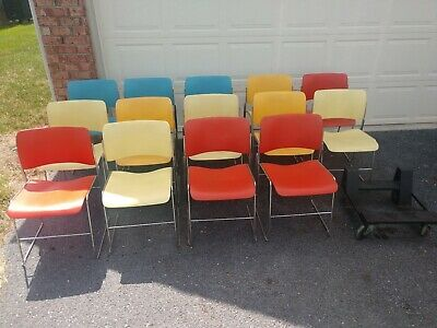 Green David Rowland Chairs 40//4 Stacking Mid Century 1979 10 available!