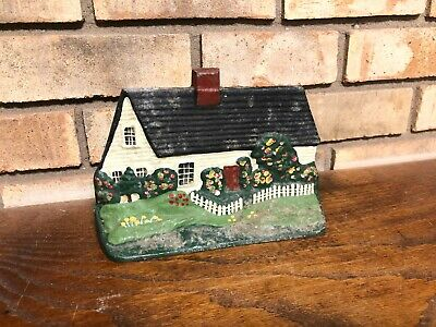 Rare Old Antique Solid Metal Hand Painted Cape Cod Cottage House Doorstop Heavy!
