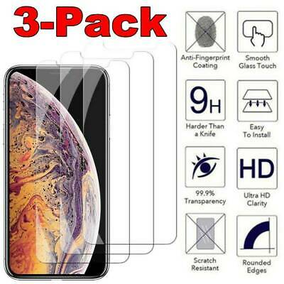 For iPhone 11 Pro XS Max XR 8 7 6S 5 Plus 3 Pack Tempered Glass Screen Protector