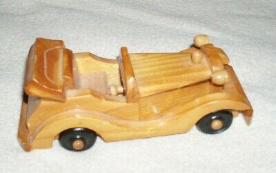 Vintage Small Wooden Car Hand Crafted Wood Automobile Toy Gift