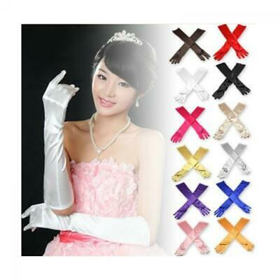 Lady Opera Wedding Evening Party Prom Costume Satin Long Gloves