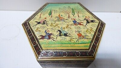 Vintage Persian Inlaid Hand Painted Horse Warrior Hexagonal Wooden Box Jewellery