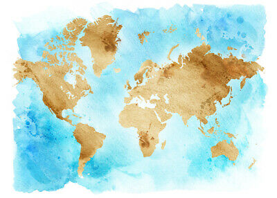 Watercolor World Map arts Educational school Poster 91x61cm Quality wall poster