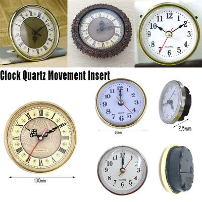 (65mm) Clock Quartz Movement Insert Roman Numeral White Face Gold Trim