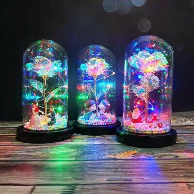 Rose in Glass Dome LED Forever Rose Lamp for Christmas Valentine's Romantic Gift