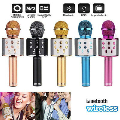 UK Wireless Bluetooth Karaoke Microphone Speaker Handheld KTV Player Mic Party