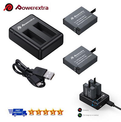 Powerextra 2x 1500mAh Battery & Dual USB Charger Compatible for Insta360 ONE X