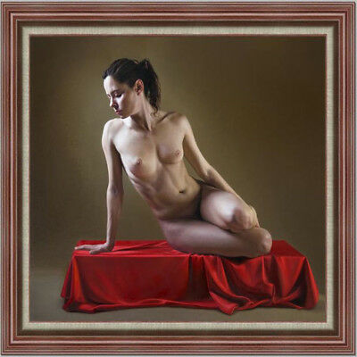 """Hand-painted Original Oil painting Portrait art nude girl on Canvas 30""""X30"""""""