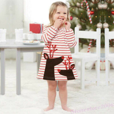 Toddler Baby Kids Girls Deer Santa Striped Princess Chrismas Dresses Party Gown