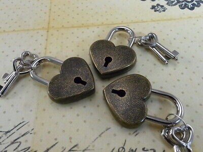 Vintage Antique Style Small Padlock With Key-- Antique Bronze Color - Lot of 3