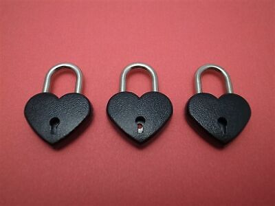 Vintage Antique Style Small Padlock With Key-- Black Color - Lot of 3