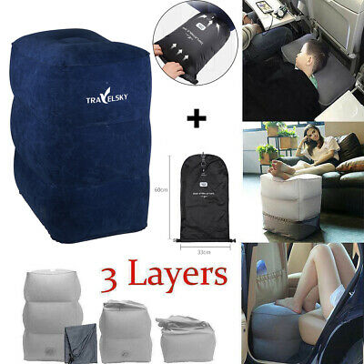 Plane Train Travel Inflatable Foot Seat Pad Footrest Pillow 2/3Layer+Storage Bag