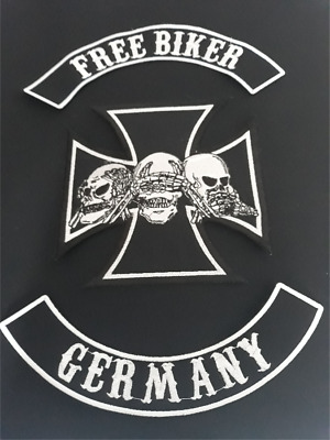 Patches,Free Biker Germany Choppers Forever, komplett Set, Aufnäher