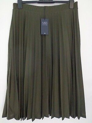 Bnwt Ladies M&S Collection Range Pleated Lined Khaki Green Midi Skirt Size 18