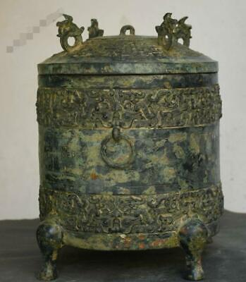 "13"" Old Chinese Dynasty Palace Bronze Beast Head 4 Foot Wine Wine Pot Jar Crock"