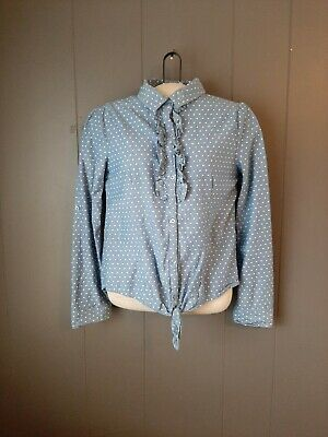 Girls Red Camel Cambray Button Top With Tie Polka Dot Long Sleeve Top Size...
