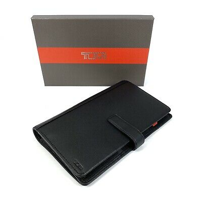 Tumi Nassau SLG Wallet Travel Organizer Textured Black Leather RFID Blocking